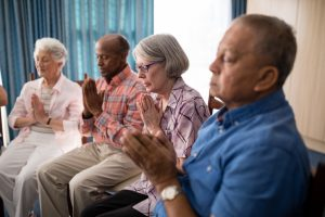 Religious service at assisted living facility